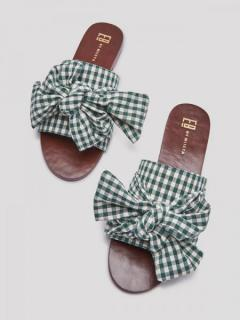 Peggy Dark Gingham Sandals (GREEN)