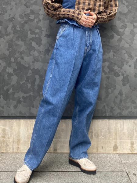 TUCK DENIM PANTS(CROPPED)