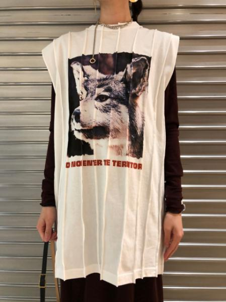 ANIMAL PIN-TUCK T-SHIRT(WOLF)