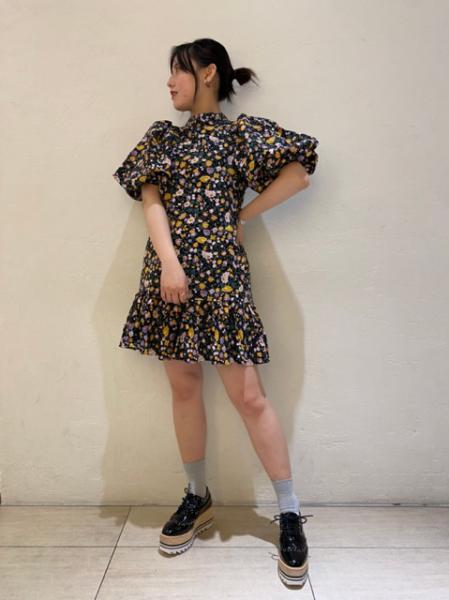 Figurative Floral Mini Dress