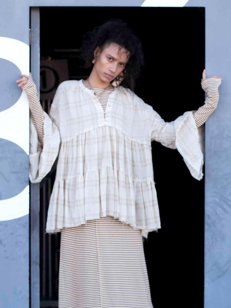 【20SS】CHECK GRIM FRILL BLOUSE