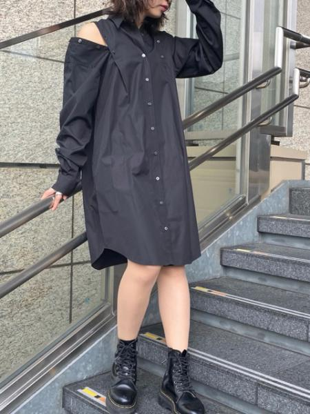 SHOULDER BUTTON SHIRT DRESS
