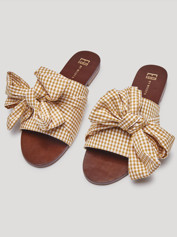 Peggy Dark Gingham Sandals (YELLOW)