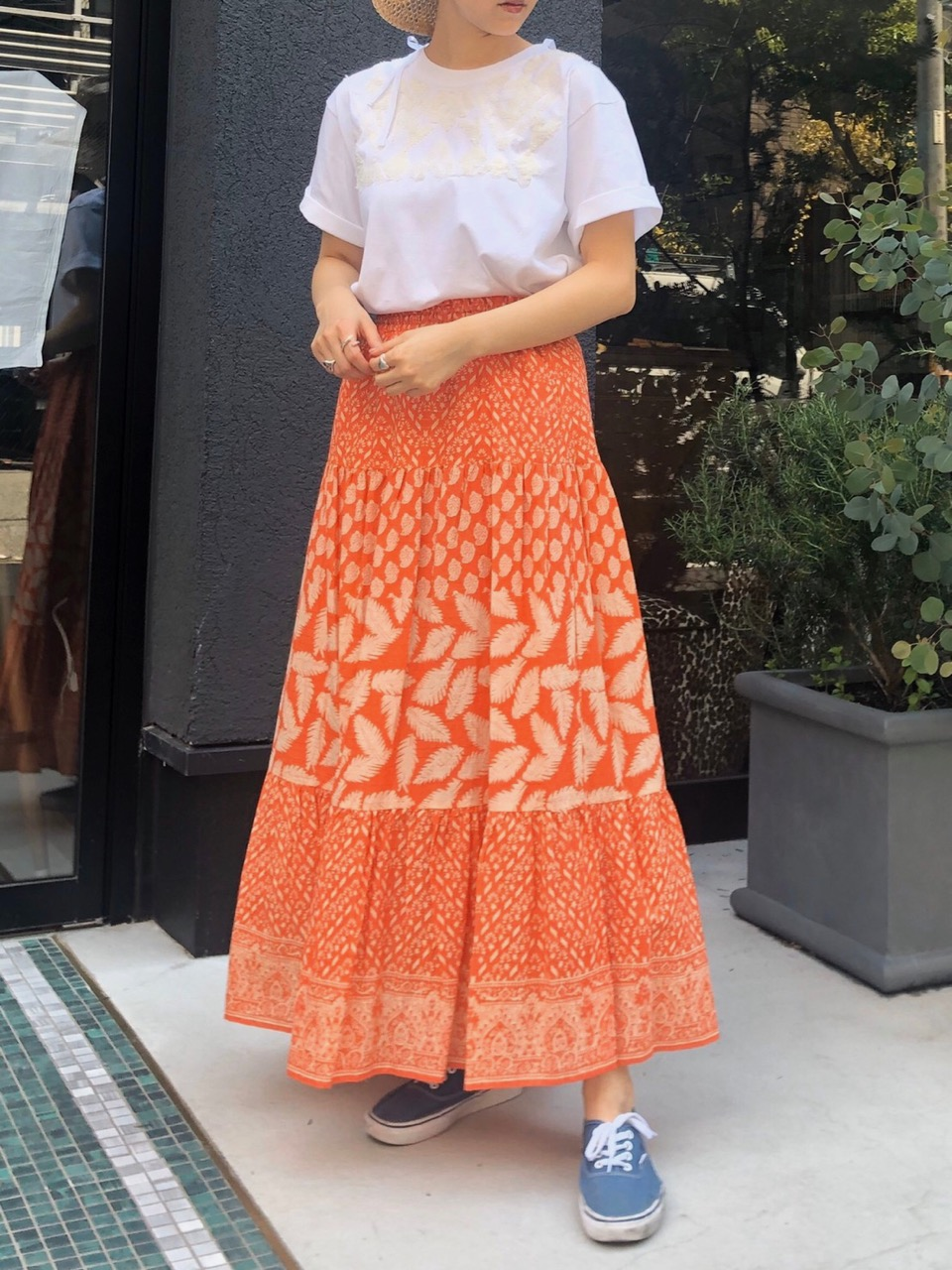 【MORE SALE】LEAF PEINT SKIRT (ORANGE)