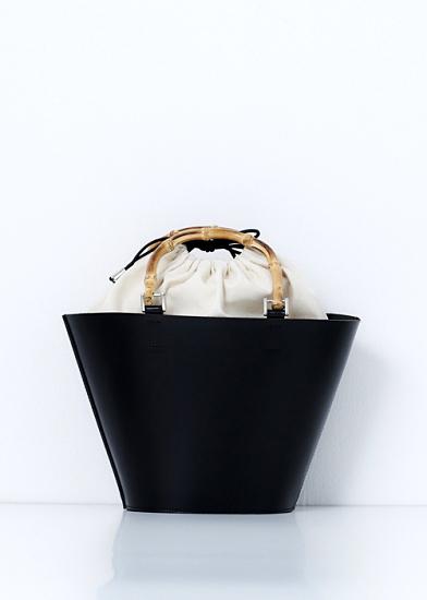 TAN leather basket (M)