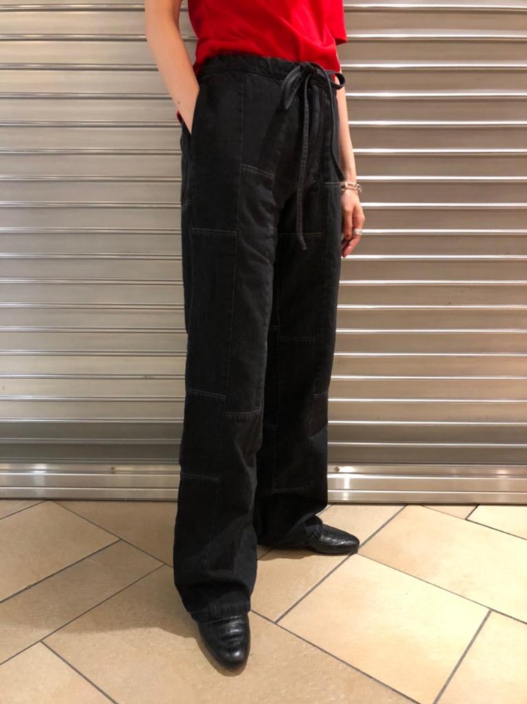 black patch denim pants