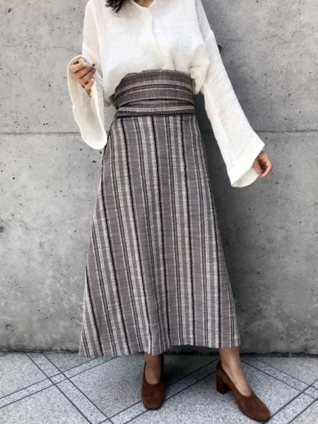 ORIENT STRIPE WRAP SKIRT