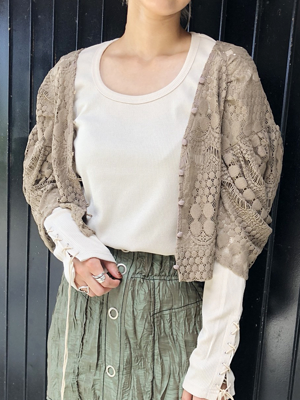 DROP PUFF LACE CARDIGAN