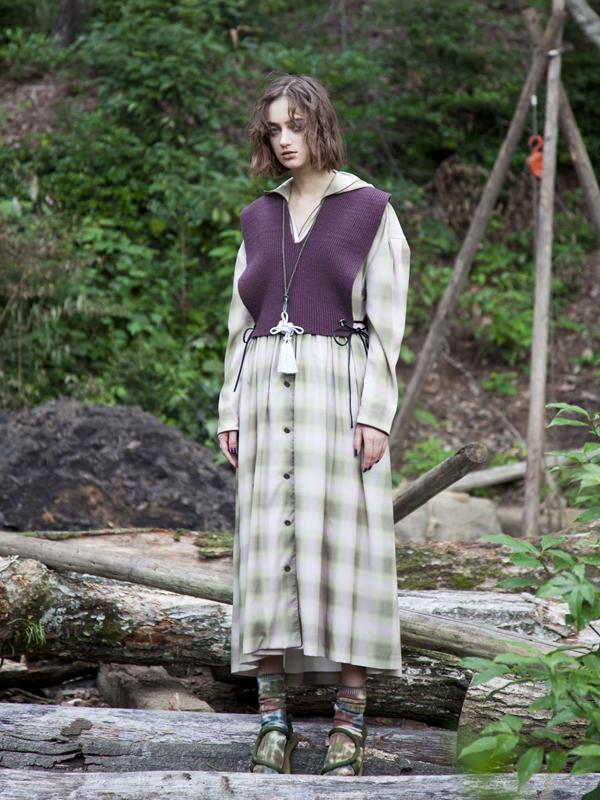 OMBRECHECK HOODIE DRESS